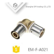 EM-F-A021 Dupla compressão conector latão cotovelo tubo de encaixe
