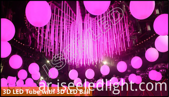 3D led tube with 3D led ball
