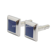 Polyhedral Square Stainless Steel Silver Cufflinks With Blue Stone