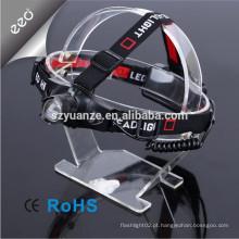 Polícia de três velocidades Zoom Lanterna de cabeça de ataque recarregável LED