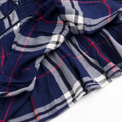Damen Plaid Check Langhorn Ärmel Hemd