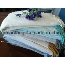 Woven Herringbone Cotton Throw with Fringe