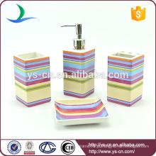 4pcs quadrado colorido listras cerâmica industrial banheiro acessórios conjunto