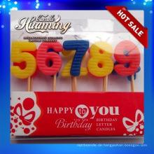 Paraffinwachs mehrfarbige Geburtstagsnummer Kerzen mit 0-9 in der Masse zum Verkauf PVC-Kasten