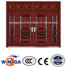Großes Haus mit Eisenmetall Eingang Sicherheit Stahl Tür (W-SD-09)
