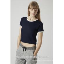T-shirt de base cropped de haute qualité / tee-shirt uni dans ce t-shirt doux / 65% polyester, 35% tee-shirt en viscose