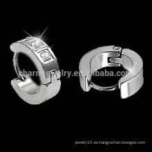 Surgical Steel CZ Channel Set Hoop pendientes Huggies 2014 para el muchacho nueva joyería para el pendiente de la moda de las mujeres HE-018