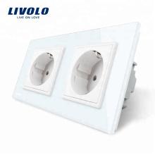 Livolo Стандарт ЕС Двойная электрическая розетка Настенный выключатель Розетка VL-C7C2EU-11