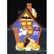 Tarro de cerámica pintado a mano de la galleta de Halloween
