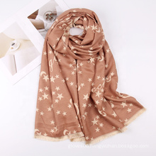 Fashionable Jacquard Star Pattern Winter Cashmere Scarf Women Multifunction Warm Soft Wraps Shawl