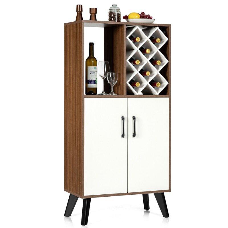 Bar Cabinet Wooden Buffet Sideboard Storage Cupboard With Wine Rack 1