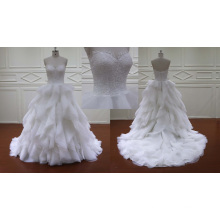 Vertical Ruffle Organza Bridal Wedding Dress
