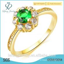 Alta qualidade de ouro polido de alta banhado a ouro anel de dedo anelar diamante anéis de ouro amarelo