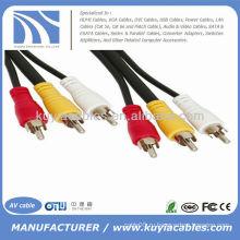 10 футов 3-RCA (L + R + V) 3 RCA Мужской к 3 RCA Мужской аудио-видео кабель AV