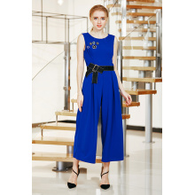 Solid MIDI Length Jumpsuit with Waist Bow Tie and Beads