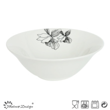 White Porcelain with Decal Flower Opened Bowl