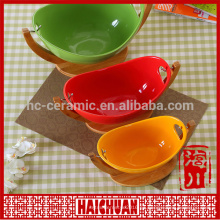 Cerámica ronda verde hornear ware con tapa de silicona Lunch box taquilla cuenco japonés tazón de fideos