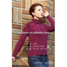 Fashion women purple cashmere sweater turtleneck