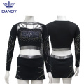 Benutzerdefinierte Gunmetal Crop Top Cheer Uniform