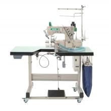 Direct drive cylinder bed interlock sewing machine with automatic trimmer and right hand side fabric trimmer
