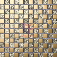 Golden Glass Titanium Crystal Mosaic Tile (TC327)