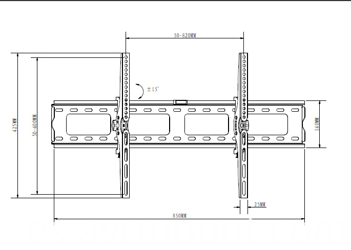 Tilt TV wall bracket 3780 line drawing