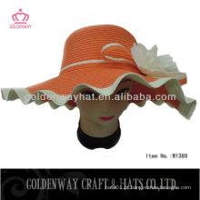 Senhoras grande flexível chapéus chapéu cor de laranja flexível