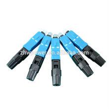 Connecteur SC Fiber Optic Fast, connecteur rapide SC / UPC bleu, connecteur rapide à fibre optique