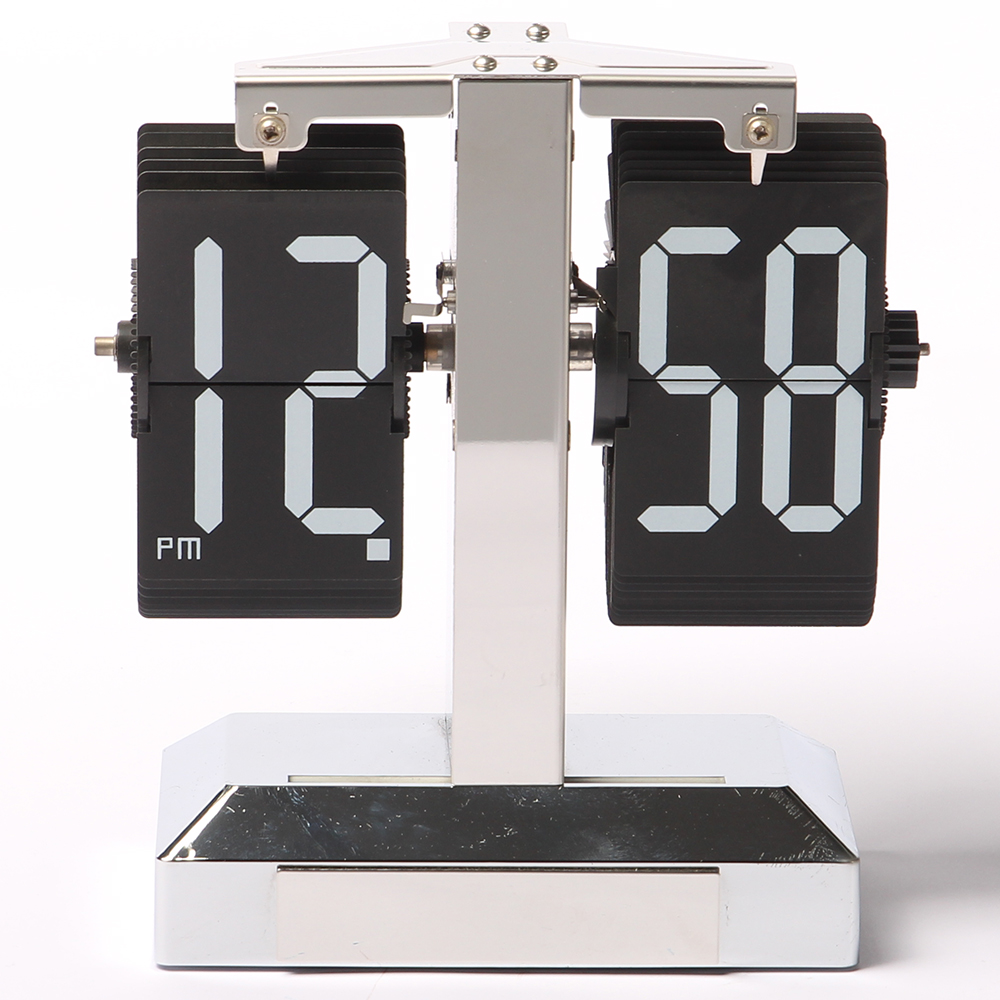 Modern Flip Down Desk Clock Metal