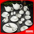 Оптовые продажи чистого белого фарфора столовый набор посуды отель