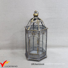 Grey Gold Retro Metal Glass Floor Hurricane Candle Lanterns