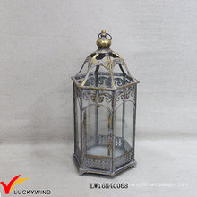 Cinza, ouro, retro, metal, vidro, chão, furacão, vela, lanternas