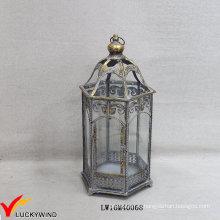 Серый золотой ретро металлический стеклянный пол урагана свеча фонари