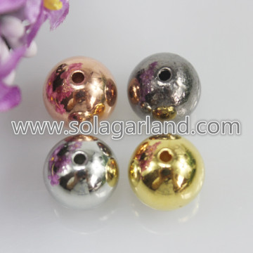 4-16MM Acrylic Electroplating Metallic Round Chunky Beads