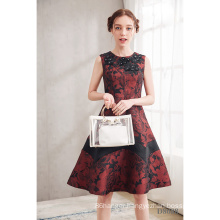 2021 New Latest Design Round Neck Dark Red Printed Party Dress A-line Sleeveless  Hand make Beading Flower Printed  Evening Gown