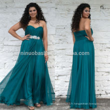 2014 Nouvelle Robe de bal Turquoise Plus Size Sweetheart Full-Length Plissé Jeweled Top Side Zipper Chiffon A-Line Party Gown NB0906