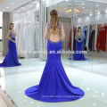 New Arrival Blue Color Sleeveless Beaded Long Evening Dress Fish Cut