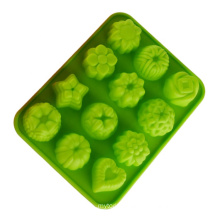 Customized food grade silicone cake soap jelly mold rose silicone flower mold pudding dessert baking mold flower heart shape