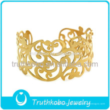 Chapado al vacío de oro de alta calidad flores cortadas con láser vides florales brazalete de acero inoxidable brazalete