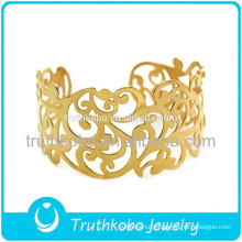 Vacuum plating gold high quality laser cut flowers floral vines stainless steel cuff bangle