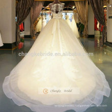 A-Line Sleeveless Tulle Lace Wedding Dress With Scoop Neckline and Beading Sash