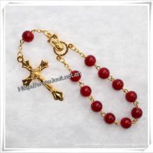Religous Colorful Stone Bracelet, One Decade Rosary with Cross (IO-CE026)