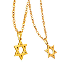 Real Gold Plated 316L Stainless Steel Israel Metal Necklace Charm Star Of David Pendant