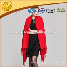 Red Color Woman Thick Fleece Silk Scarves Wholesale Pashmina Shawl