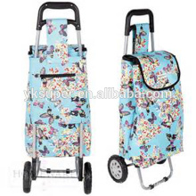 Fashionable hand trolley with colorful fabric