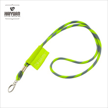 Mifflin Horizontal Grass Green Round Woven Lanyard with Embroidery Label Tag