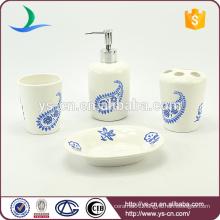 4pcs Lovely Flowers Pattern Ceramic Bathroom Decor Accessories Set