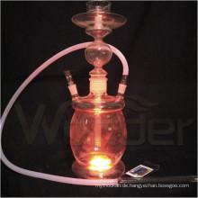 Großhandel Alle Glas Huka Shisha, Farbige Rauch Huka mit LED