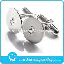 F-C0014 Mens Stainless Steel Jewelry Cufflink Engraved Logo Silver Round Simple Design Cufflinks Sales