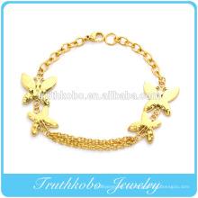 2014 venta caliente mejor regalo de vacío chapado de oro mariposa permanente enlace brazalete pulsera joyería de acero inoxidable